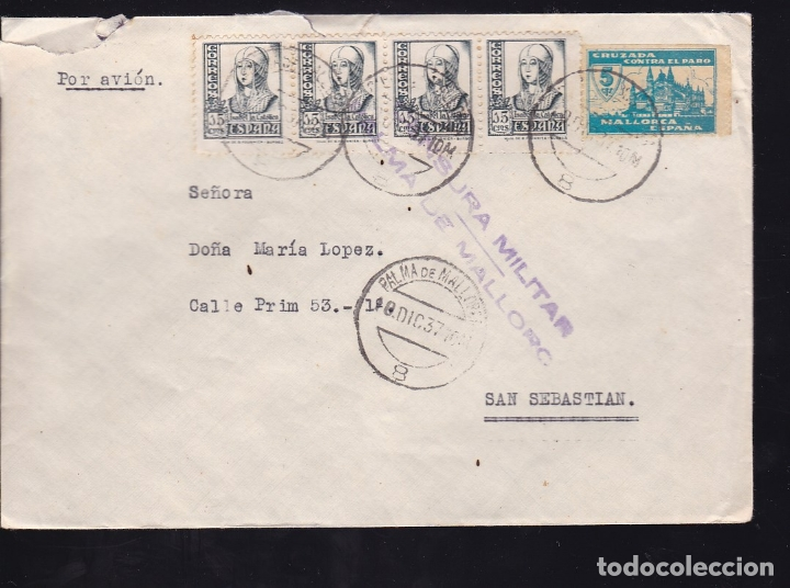 F28-1-GUERRA CIVIL.CARTA PALMA MALLORCA 1937 . LOCAL Y CENSURA . BONITO FRANQUEO (Sellos - España - Guerra Civil - De 1.936 a 1.939 - Cartas)