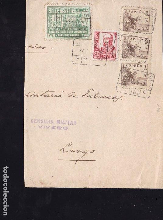 F28-21-GUERRA CIVIL. FAJA CERTIFICADO VIVERO LUGO 1937 . LOCAL Y CENSURA (Sellos - España - Guerra Civil - De 1.936 a 1.939 - Cartas)