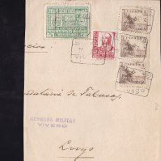 Sellos: F28-21-GUERRA CIVIL. FAJA CERTIFICADO VIVERO LUGO 1937 . LOCAL Y CENSURA . Lote 174280345