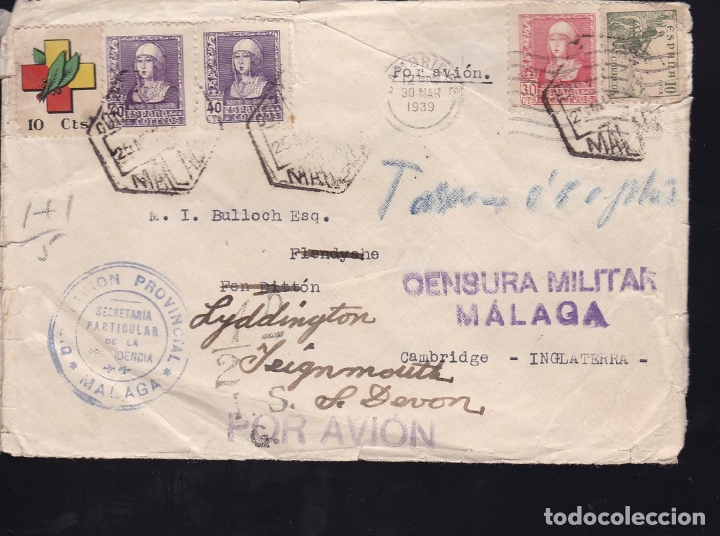 F28-21-GUERRA CIVIL.CARTA MARCA DIPUTACIÓN MALAGA. 1939. REEXPEDIDA. TASADA. LOCAL CENSURA (Sellos - España - Guerra Civil - De 1.936 a 1.939 - Cartas)