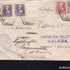 Sellos: F28-21-GUERRA CIVIL.CARTA MARCA DIPUTACIÓN MALAGA. 1939. REEXPEDIDA. TASADA. LOCAL CENSURA . Lote 174280975