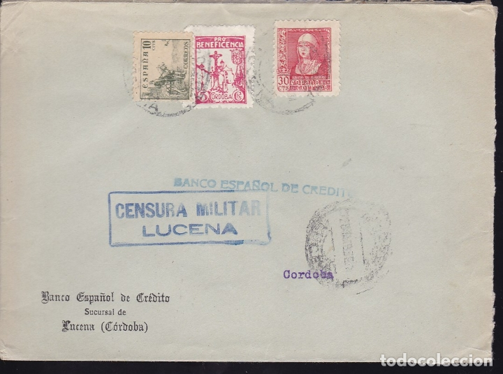 F28-22-GUERRA CIVIL.CARTA LUCENA CÓRDOBA 1939. LOCAL Y CENSURA (Sellos - España - Guerra Civil - De 1.936 a 1.939 - Cartas)