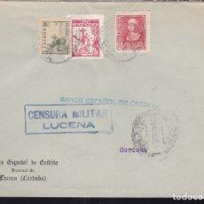 Sellos: F28-22-GUERRA CIVIL.CARTA LUCENA CÓRDOBA 1939. LOCAL Y CENSURA . Lote 174281247