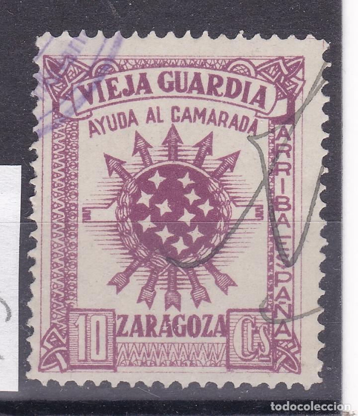 KK8-GUERRA CIVIL VIÑETA VIEJA GUARDIA ZARAGOZA . USADA (Sellos - España - Guerra Civil - Viñetas - Nuevos)