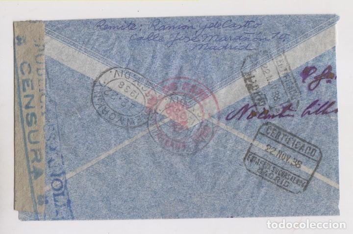 Sellos: SOBRE. CORREO AÉREO CERTIFICADO A CUBA. CENSURA MILITAR. 1938. SELLO 4 PTS. - Foto 2 - 174446854