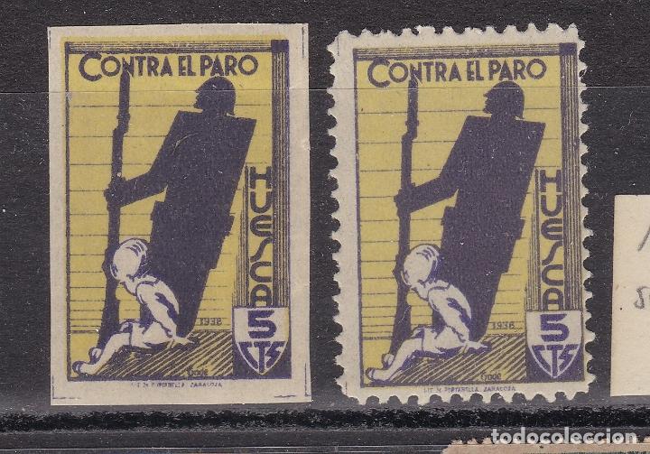 KK11- GUERRA CIVIL LOCALES CONTRA EL PARO HUESCA 15/15S. ** SIN FIJASELLOS (Sellos - España - Guerra Civil - Viñetas - Nuevos)
