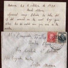 Timbres: GIROEXLIBRIS.- GUERRA CIVIL .- CARTA CIRCULADA DESDE CASTILLO DE ARO (GIRONA) AL FRENTE DE ARAGON A . Lote 174489679
