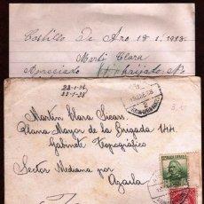 Sellos: GIROEXLIBRIS.- GUERRA CIVIL .- CARTA CIRCULADA EN CARRILET DE SANT FELIU DESDE CASTELL D'ARO. Lote 174489967