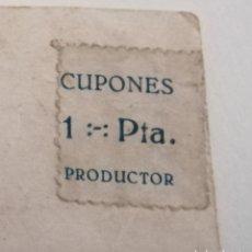 Sellos: CUPONES PRODUCTOR. 1 PESETA. 4 CUPONES ADHERIDOS A UNA FOTOGRAFÍA. TAL CUAL.. Lote 174596764
