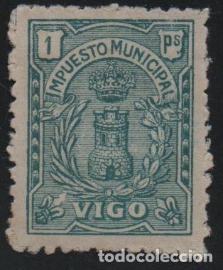 VIGO. 1 PTA,. -IMPUESTO MUNICIPAL-- VER FOTO (Sellos - España - Guerra Civil - De 1.936 a 1.939 - Usados)
