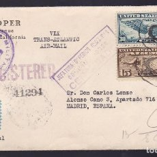 Timbres: HP6-21-GUERRA CIVIL . CARTA USA-MADRID 1939. CENSURAS JEFATURA SUPERIOR CENSURAS,MONEDA EXTRANJERA. Lote 175569093
