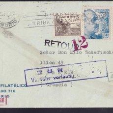 Sellos: F29-2-GUERRA CIVIL .CARTA MADRID- CROACIA 1943 .CENSURAS. Lote 175569999