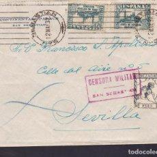 Sellos: F29-3-GUERRA CIVIL .CARTA CONTINENTAL PALACE SAN SEBASTIÁN 1937. CENSURA Y CRUZADA FRÍO. Lote 175571774