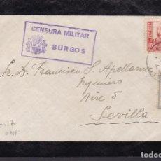 Sellos: F29-5-GUERRA CIVIL . CARTA LUTO. BURGOS 1937. CENSURA Y CRUZADA CONTRA EL FRIO. Lote 175585375