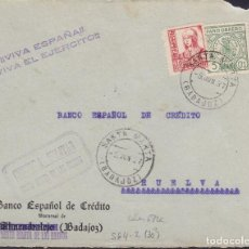 Sellos: F29-6-GUERRA CIVIL .FRONTAL SANTA MARTA DE LOS BARROS (BADAJOZ) 1937. LOCAL Y CENSURA . Lote 175586723