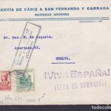 Timbres: HP1-17-GUERRA CIVIL .FRONTAL TRANVÍA DE CÁDIZ A SAN FERNANDO Y CARRACA .LOCAL Y CENSURA SAN FERNANDO. Lote 175587202