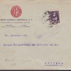 Sellos: F29-6-GUERRA CIVIL .CARTA UNIÓN QUÍMICA ESPAÑOLA LEÓN 1939. CENSURA Y SELLO JOSE ANTONIO. Lote 175587348