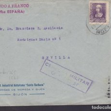 Sellos: F29-7-GUERRA CIVIL .CARTA GIJÓN 1938. LOCAL Y CENSURA . Lote 175588459