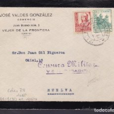Sellos: F29-8-GUERRA CIVIL .FRONTAL VEJER DE LA FRONTERA 1937. LOCAL Y CENSURA VIOLETA . Lote 175588943