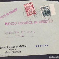 Sellos: F29-8-GUERRA CIVIL .FRONTAL ECIJA (SEVILLA) 1937. LOCAL (VARIEDAD DENTADO) Y CENSURA NO CATALOGADA. Lote 175589890