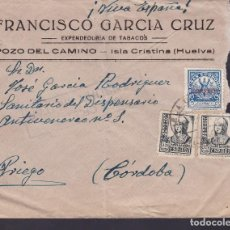 Sellos: F29-9-GUERRA CIVIL .CARTA POZO DEL CAMINO- ISLA CRISTINA HUELVA. CENSURA Y LOCAL AYAMONTE. Lote 175590358