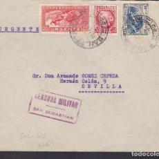 Sellos: F29-10-GUERRA CIVIL .CARTA URGENTE SAN SEBASTIAN 1937. CENSURA Y CRUZADA CONTRA EL FRIO. Lote 175591817