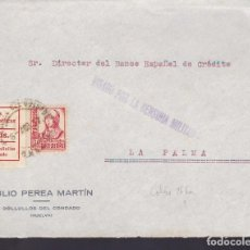 Sellos: F29-11-GUERRA CIVIL .FRONTAL BOLLULLOS DEL CONDADO (HUELVA) 1937. LOCAL Y CENSURA . Lote 175592672