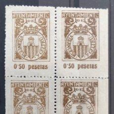 Sellos: VILLANUEVA Y GELTRU- BARCELONA-AYUNTAMIENTO- BLOQUE 4 SELLOS 0,50 PESETAS. Lote 175685888