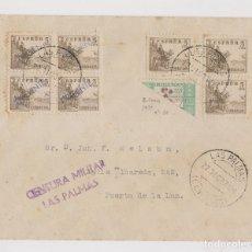 Sellos: SOBRE. LAS PALMAS, CANARIAS. 1937. CENSURA MILITAR. RARO FRANQUEO. Lote 176025253