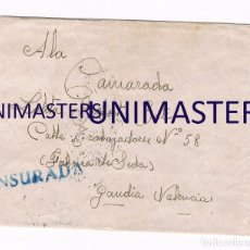 Sellos: FRENTE DE GUADARRAMA MADRID GUERRA CIVIL DICIEMBRE 1936 AMETRALLADORAS - GANDIA VALENCIA - CENSURADA. Lote 176213142