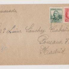Sellos: SOBRE. CASTELLFOLLIT DE LA ROCA, GIRONA. GERONA. 1938. A UN CAMARADA EN MADRID. Lote 176220742