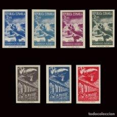 Sellos: SELLOS. ESPAÑA. 1939.AVIONES Y PAISAJES.SERIE NUEVO**.SD. 2ª TIRADA, TARRÉ.EDIFIL NE 39S-45S. Lote 176279667