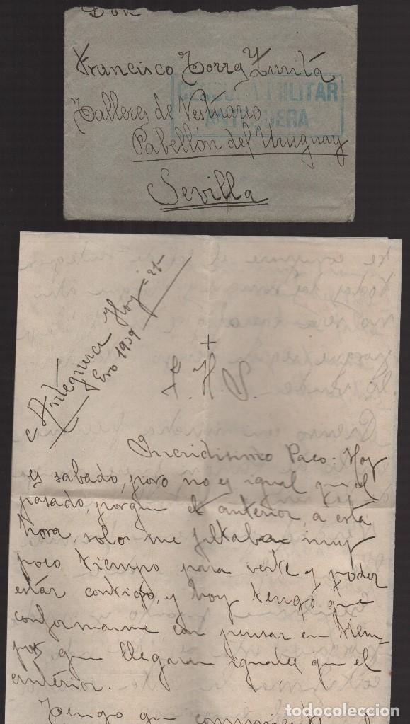 Sellos: ANTEQUERA--MALAGA-- CARTA Y SOBRE A SEVILLA, C.M. ANTEQUERA- VER FOTOS - Foto 2 - 176476574