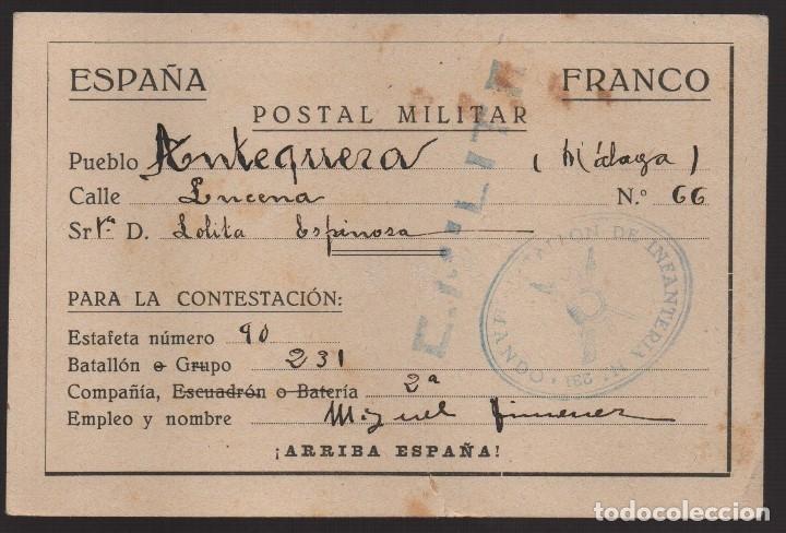 ANTEQUERA--MALAGA-- POSTAL MILITAR, C.M. LEVE CORTE- VER FOTOS (Sellos - España - Guerra Civil - De 1.936 a 1.939 - Usados)