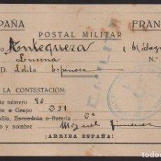 Sellos: ANTEQUERA--MALAGA-- POSTAL MILITAR, C.M. LEVE CORTE- VER FOTOS. Lote 176476832