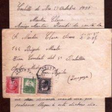 Timbres: GIROEXLIBRIS.- CARTA CIRCULADA DESDE CASTILLO DE ARO (GIRONA) AL FRENTE EN ARAGÓN CON INTERESANTE T. Lote 176553670