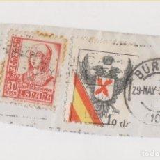 Sellos: FRAGMENTO USADO EN BURGOS EN 1937. CON SELLO DE REQUETÉS Y OTRO DE ISABEL LA CATÓLICA.. Lote 176553922