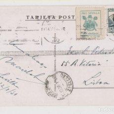 Sellos: POSTAL. SEVILLA A PORTUGAL. CON PATRIÓTICO Y LOCAL. 1936. Lote 176606020