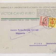 Sellos: SOBRE. CÁDIZ. ISABEL LA CATÓLICA PIE CORTO. 1937. CON LOCAL. CENSURA MILITAR. Lote 176606533