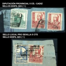 Sellos: DOS FRAGMENTOS DE SOBRES - 1937 - EDIFIL 832 Y LOCALES - PRO SEVILLA ...- REF746. Lote 176737423