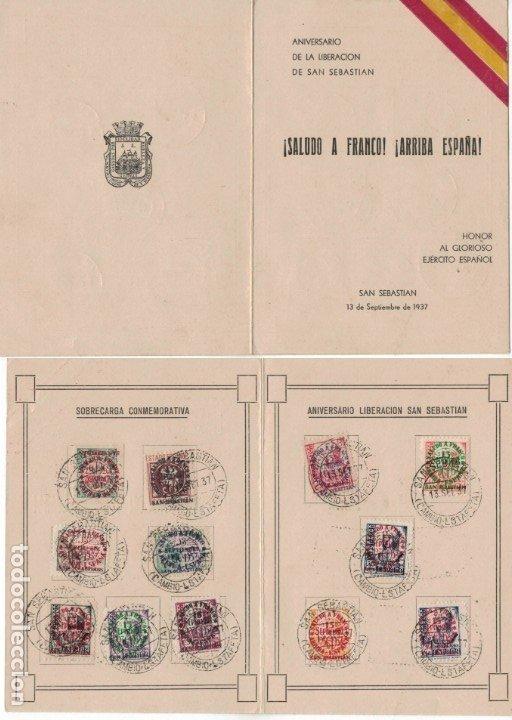 DOCUMENTO AYUNTAMIENTO SAN SEBASTIAN CON MOTIVO DE LA SOBRECARGA PATRIOTICA (Sellos - España - Guerra Civil - De 1.936 a 1.939 - Usados)