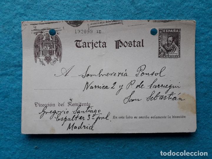 ENTERO POSTAL 20 CÉNTIMOS MARRÓN. ESCRITO EN MADRID EL 4 DE OCTUBRE DE 1939. CENSURA MILITAR. (Sellos - España - Guerra Civil - De 1.936 a 1.939 - Cartas)