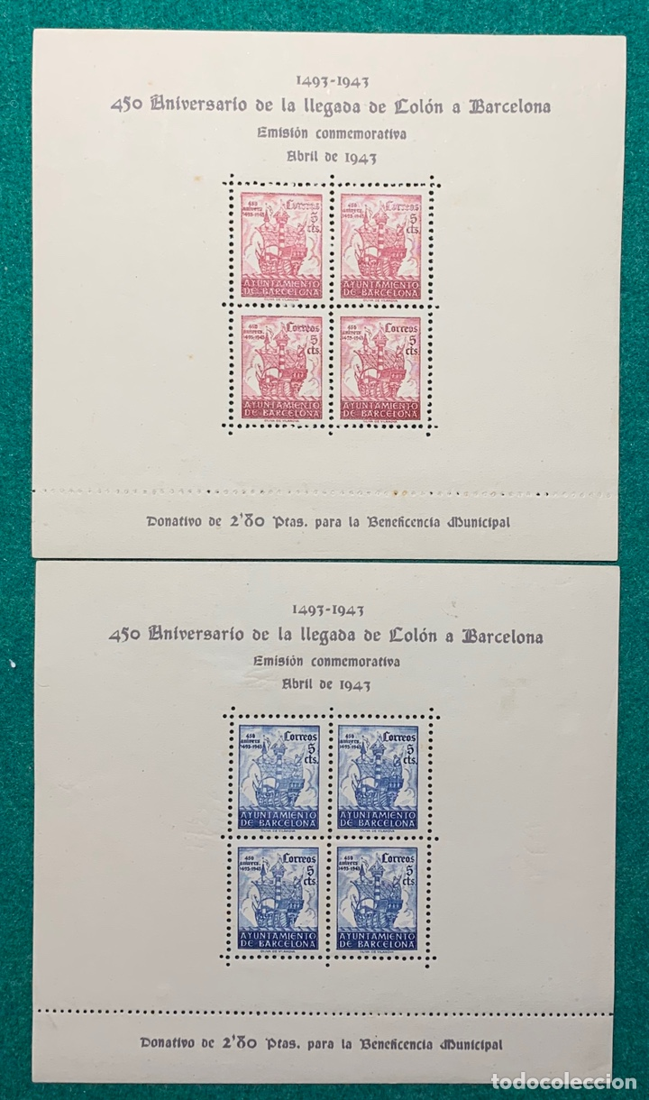 AÑO 1943. BARCELONA. 2 HB 450 ANIVERSARIO DE LA LLEGADA DE COLÓN A BARCELONA. (Sellos - España - Guerra Civil - Locales - Nuevos)