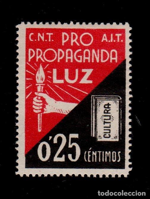 CL3-46 GUERRA CIVIL PRO CULTURA PROPAGANDA LUZ C.N.T. - A.I.T. VALOR 25 CTSSIN FIJASELLOS (Sellos - España - Guerra Civil - Viñetas - Nuevos)