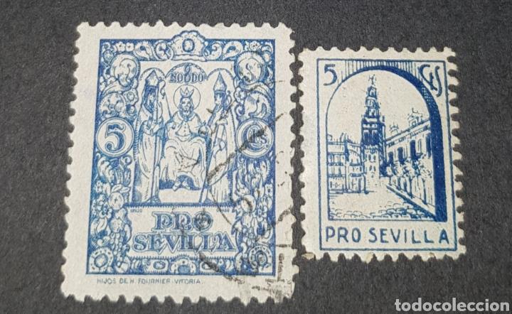 2 SELLOS VIÑETAS (GUERRA CIVIL) PRO SEVILLA , 5 CENT. (Sellos - España - Guerra Civil - Viñetas - Usados)