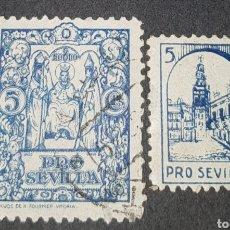 Sellos: 2 SELLOS VIÑETAS (GUERRA CIVIL) PRO SEVILLA , 5 CENT.. Lote 177050845