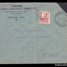 Sellos: *** CARTA GUADALCANAL - SEVILLA 1938 CENSURA GUADALCANAL NEGRO + AUXILIO DESVALIDOS SEVILLA ***. Lote 177829143