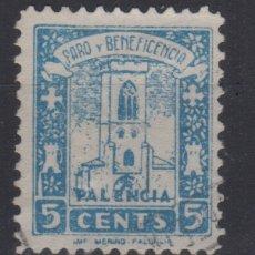 Sellos: PALENCIA SELLO VIÑETA PARO Y BENEFICENCIA 5 CTS. Lote 178168836