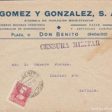 Sellos: CENSURA: DON BENITO (BADAJOZ) A SEVILLA. 1938.. Lote 178274006