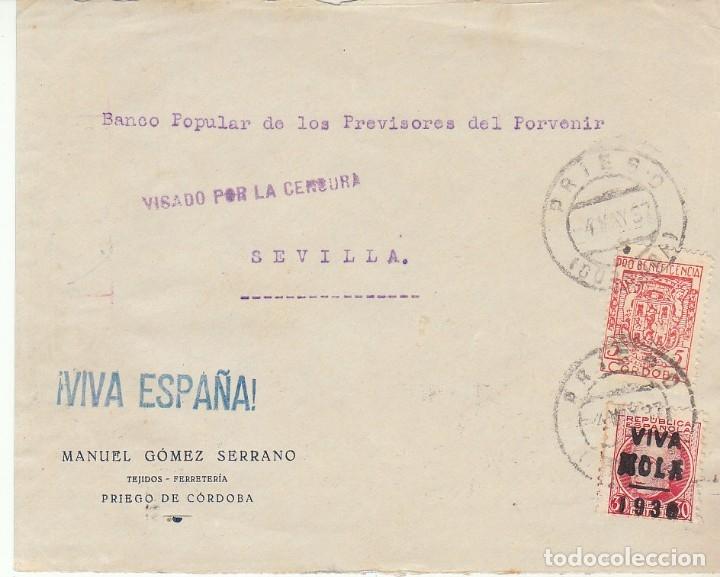 CENSURA: PRIEGO DE CORDOBA A SEVILLA. (Sellos - España - Guerra Civil - Viñetas - Usados)
